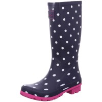 Bild 1 - Joules Gummistiefel Roll Up Welly Pünktchen blau